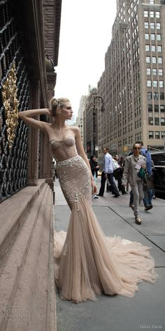 inbal dror 2016 wedding dress with strapless sweetheart fit flare mermaid wedding dress taupe color train style 05 / http://www.deerpearlflowers.com/inbal-dror-fall-wedding-dresses-2016-new-york-colletion/