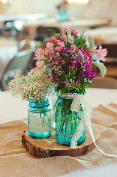 Something Blue: 45 Rustic Blue Mason Jars Wedding Ideas   http://www.deerpearlflowers.com/something-blue-rustic-blue-mason-jars-wedding-ideas/
