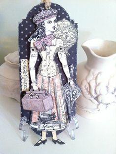 Articulated Paper Doll Tag Paris Divertissements by ParisPluie, $15.00