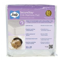 The Sealy SecureStay Crib Mattress Pad offers the best fit on your baby's crib mattress, provides a waterproof barrier and superior softness and absorbency to help keep your baby dry and comfortable.