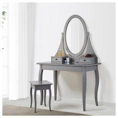 HEMNES white, Dressing table with mirror, cm. Dressing table or desk? You don't need to decide – there's enough space for both make-up, pens and laptop. White Dressing Tables, Dressing Table Mirror, Teen Room Decor, Home Decor Bedroom, Hemnes Day Bed, Grey Desk, Teen Girl Bedrooms, Beautiful Bedrooms, Table Furniture