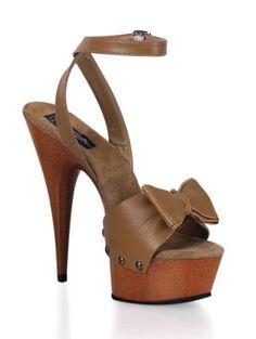 awesome Open Toe Tan Platform Wood Sandal - 12