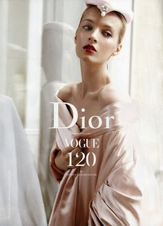 Advertisement (Daria Strokous by Patrick Demarchelier, Dior Advertorial, VOGUE US SEPTEMBER 2012, via thecysight)