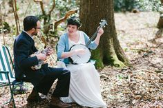 Corinne & Gareth {wedding} - bride and groom serenade each other in the woods after the ceremony, and for the guests, on their banjos (HOW COOL?!) Photo By Jay Mountford Photography