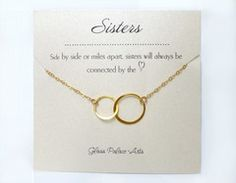 Infinity Necklace Gift With Personalized Sister Note Card - Sterling Silver / 16 Inches