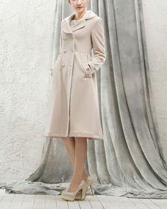 Beige Wool Blend Coat  Double Breasted Beige Wool by DressStory, $189.99