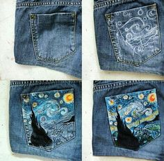 Clothes Closet Diy Outfit New Ideas Kleidung Design, Diy Kleidung, Diy Jeans, Sewing Jeans, Painted Jeans, Painted Clothes, Painted Shorts, Diy Clothes Paint, Revamp Clothes