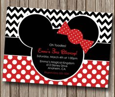 Chevron Minnie Mouse Birthday Party Invitation - Printable Digital You Print File - ANY AGE on Etsy, $10.00