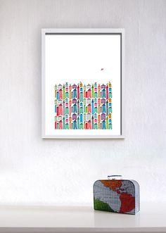 Houses and Birds Print. $25.00, via Etsy.