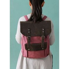 #01 Backpack 'VINTAGE 2' A4 Retro style. Canvas & cowhide leather. Red