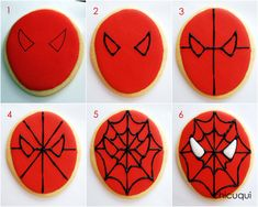 Spiderman, the decorated cookie - Spiderman Cupcakes, Spiderman Torte, Spiderman Birthday Cake, Superhero Cookies, Batman Cakes, Avengers Birthday, Superhero Party, Candy Corn Cookies, Decorated Cookies
