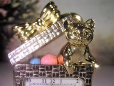 ELGIN Miniature Clock, Cat Clock, Cat Present Clock, Silver & Gold Clock, Gold Cat Clock, Miniature Christmas Clock, Collectible Clock by CarolsVintageJewelry on Etsy