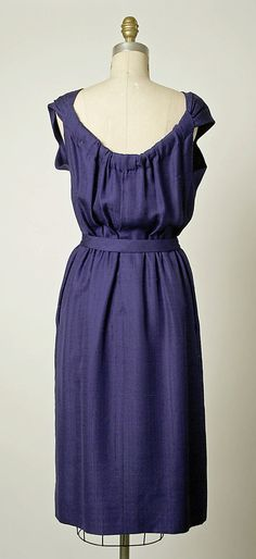 Dress, Afternoon.  House of Balenciaga (French, founded 1937).  Designer: Cristobal Balenciaga (Spanish, 1895–1972). Date: 1957. Culture: French. Medium: silk. Dimensions: Total Length (a): 44 in. (111.8 cm). Total Length (b): 32 1/2 in. (82.6 cm). Total Length (c): 32 in. (81.3 cm). Total Length (d): 26 1/2 in. (67.3 cm).