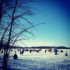 Pêche sur la glace à Laval en blanc à Sainte-Rose, Québec, Canada.  02/2015… Laval, Saint, Canada, Snow, Rose, Water, Outdoor, White People, Gripe Water