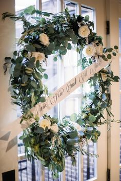Jenny Jackson & Ryan Abbate September 2014 McCrady's Restaurant Greenery Wreath, Floral Wreath, Jenny Jackson, Floral Wedding, Wedding Flowers, Wedding Doors, Wedding Wreaths, Little Flowers, Summer 2015
