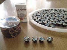 Chocolaatjes met muisjes (roze/wit, blauw/wit)