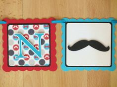 Little Man Mustache Moustache Baby Shower Birthday Party Banner Sign Red Grey Turquoise Teal Blue by PeachyPaperCrafts