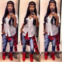 Baseball Shirt Denim Jeans Plaid Tie Around Waist Shirt Trend Red Dope Sneakers High Tops Footwear Fashion Baddies Swag Streetwear Urban Style Trend Hip Hop Fashion, Tomboy Fashion, Dope Fashion, Fashion Killa, Urban Fashion, Teen Fashion, Fashion Outfits, Female Fashion, Fasion