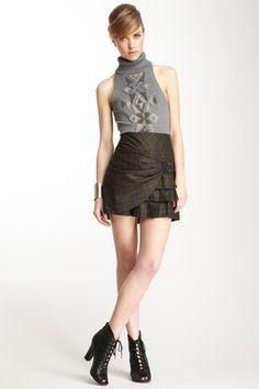 Pleated Plaid Skirt--> L.A.M.B.