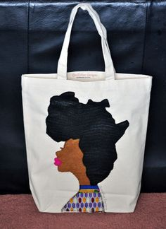Afro Woman Tote Bag by QuellyRueDesigns on Etsy, $36.00.  Need this to rock with my new fro!  :)