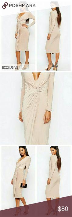 Neutral Slinky Wrap Style Dress NWTs. UK 8 / US 4. ASOS Dresses Midi
