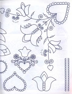 2 Embroidery Flowers Pattern, Folk Embroidery, Applique Patterns, Vintage Embroidery, Beaded Embroidery, Cross Stitch Embroidery, Embroidery Designs, Painting Templates, Painting Patterns