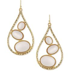 R.J. Graziano Teardrop Earrings with White Cabochons (65 AUD) ❤ liked on Polyvore