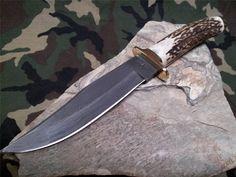 "Fox N Hound Clip Blade Skinner Knife Damascus Fixed 11"" Stag Hunter 605"