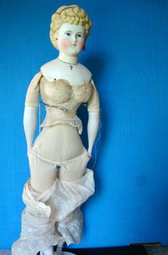 """Antique 1800s Parian 18"""" Lady Doll Repaired Humpty Dumpty Tag Emma Clear 