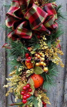 Christmas Swag Holiday Wreath Fruit Swag by NewEnglandWreath