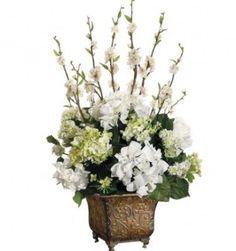 Cream and Green Hydrangea Silk Flower Arrangement with Blossom Flowers ARWF2694