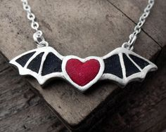 Bat wing heart necklace in silver and concrete  by lulubugjewelry, $68.00