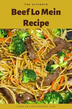 Garlic Beef Lo Mein combines tender beef with broccoli and carrots in a tangy lo mein sauce. A weeknight dinner idea everyone will love! Best Beef Recipes, Asian Recipes, New Recipes, Cooking Recipes, Best Beef Lo Mein Recipe, Pf Chang Lo Mein Recipe, Yummy Recipes, Entree Recipes, Easy Dinner Recipes