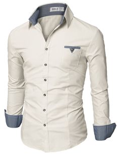 Doublju Mens Casual Shirt with Contrast Neck Band at Amazon Men s Clothing  store  Button Down 872728b1d