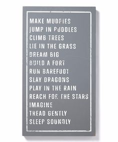 Dark Gray & White 'Make Mudpies' Wall Art
