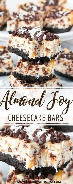 Chocolate and coconut are the stars of these ìncredìbly yummy almond joy cheesecake bars! These almond joy cheesecake bars are the perfe. 13 Desserts, Great Desserts, Delicious Desserts, Yummy Food, Delicious Chocolate, Quick Dessert Recipes, Best Cheesecake, Cheesecake Recipes, Almond Joy Cheesecake Recipe