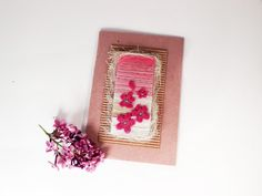 Pink greeting card for baby girl/Blossom textile greeting card/Mixed media card for baby shower/New baby card/Original artwork card/Flowers by ThreadandPaintStudio on Etsy