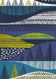 vintage retro 60's 70's scandi inspired folk lore print art pattern landscape  mountain forest sea Image result for scandinavian design prints