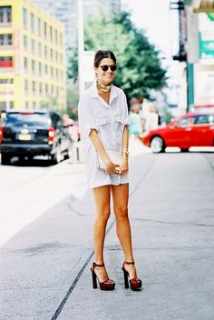 Leandra Medine goes totally fashion forward with a mini shirt dress, a chunky choker, and sky-high platforms // #CelebrityStyle