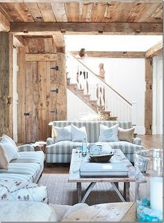 rustic simplicity with beautiful hues of blue #living #room