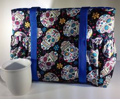 Sugar skulls tote sugar skull purse sugar skulls sleepover bag overnight bag carry on tote sugar skull gifts for her (39.00 USD) by PenguinPouches