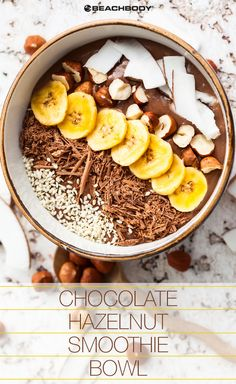 This chocolate hazelnut bowl might look like it would be off limits to a healthy diet, but it's actually pretty nutritious! Made with Chocolate Shakeology, chopped raw hazelnuts, and a few other wholesome ingredients, it tastes like a bowl of Nutella that you don't have to feel guilty eating. // healthy recipes // desserts // smoothie bowls // shakeology recipes // clean cheats // Beachbody // BeachbodyBlog.com