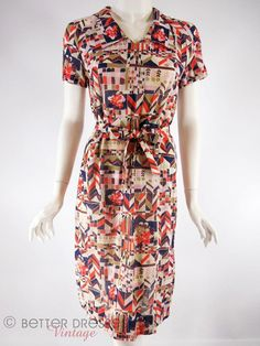 60s Geometric Print Belted Shift Dress  sm med by BeeDeeVintage, $30.00