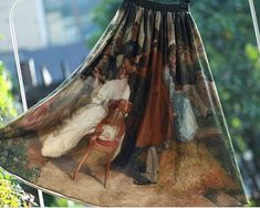 2 colors to choose FineArt Collection Vintage mid age style court oil painting long skirt