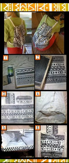 make your own aztec print rucksack from used cloth | missing the last panel! but super cute