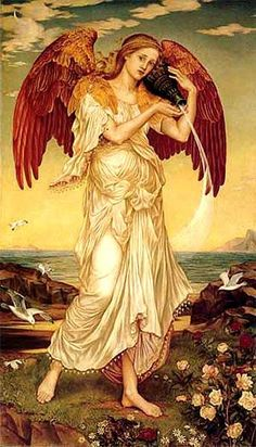 Eos, by Evelyn de Morgan (1850 - 1919), 1895 (Columbia Museum of Art, Columbia, SC): for a Pre-Raphaelite painter, Eos was still the classical pagan equivalent of an angel