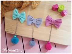Pompom Candy Edition Available Sewing Hacks, Sewing Projects, Projects To Try, Kids Party Wear Dresses, Hijab Pins, Diy Earrings, Hair Bows, Tassel Necklace, Diy And Crafts