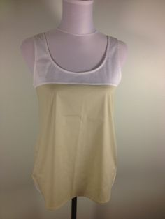 @theorypin THEORY Tan & White Colorblock Sleeveless #Blouse. Luxurious and stretchy, perfect for layering or wonderful on its own. Sz S. $21.99 at #dodiesdoodads