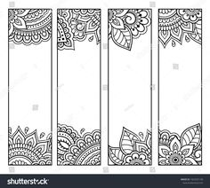 Printable bookmark for book - coloring. Set of black and white labels with flower patterns, hand draw in mehndi style. Sketch of ornaments for creativity of children and adults with colored pencils. Mandala Book, Mandala Art Lesson, Mandala Artwork, Mandala Drawing, Bookmarks For Books, Creative Bookmarks, Diy Bookmarks, Bookmarks To Color, Coloring Set