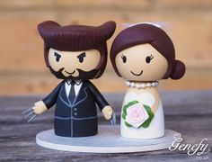 Cute superhero wedding cake topper  Bride and by GenefyPlayground, £92.00